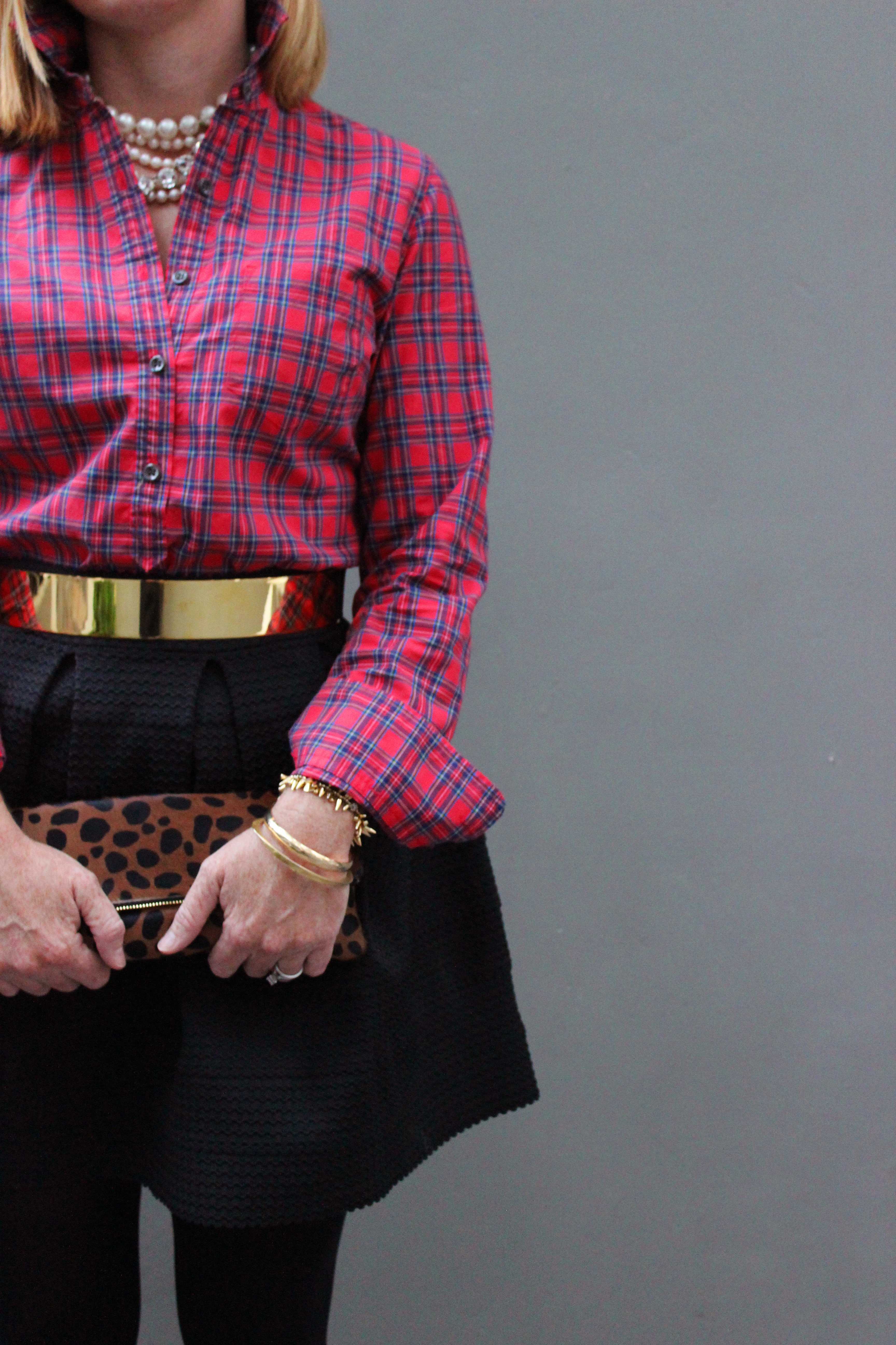 bcf004dff1a We paired it with a festive plaid button down and gave it an edge with the  gold metallic belt.
