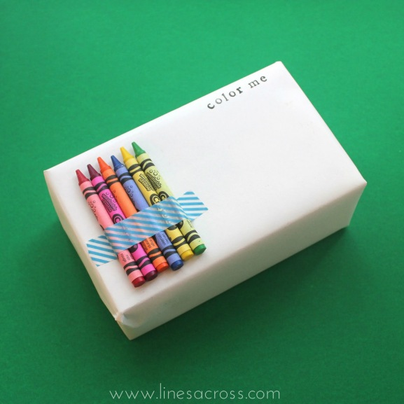 2 - crayons color me plain white wrapping 2