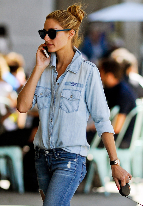 EXCLUSIVE: Olivia Palermo in all denim with monogram shirt walking her dog in Brooklyn, NYC.