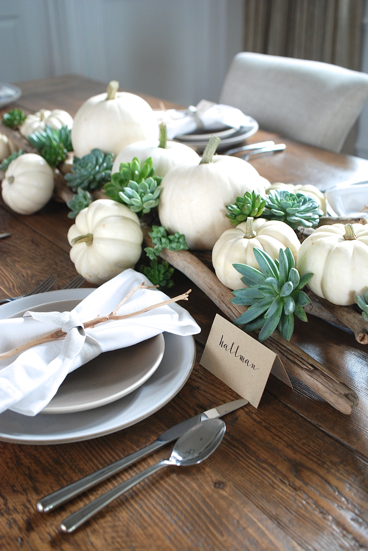 Setting a rustic thanksgiving table jane can to make the place cards we printed our guests names onto tent cards from paper source paper source offers printing templates for their place cards on pronofoot35fo Images