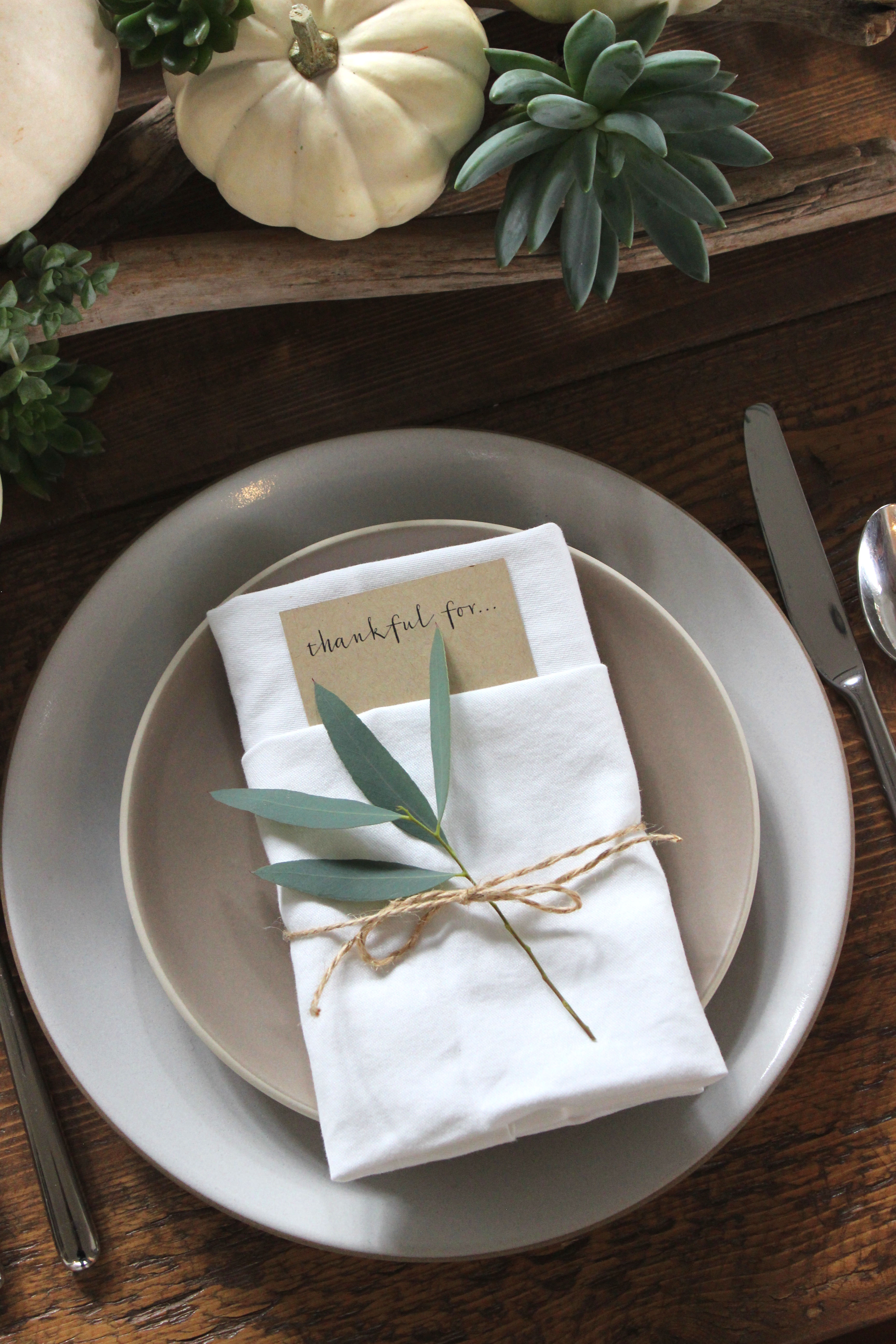 simple rustic thanksgiving place settings | jane can