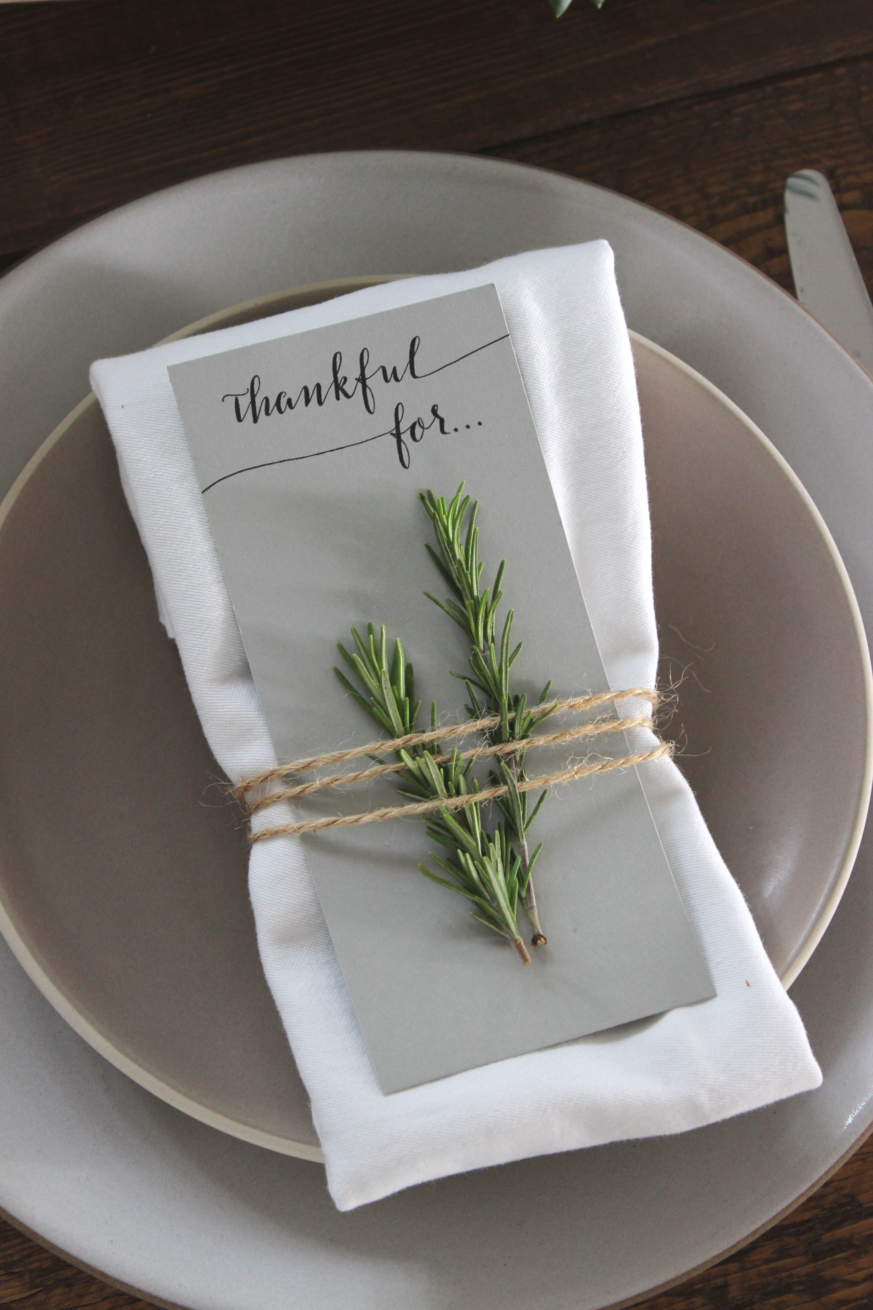 simple rustic thanksgiving place settings